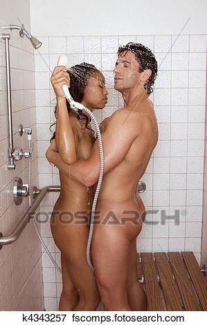 Couple in a shower naked