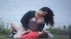 Amateur couple caught outside